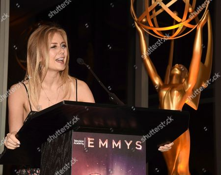 Justine Lupe speaks at the Television Academy's Casting Directors Nominee Reception at 1 Hotel West Hollywood, in West Hollywood, Calif