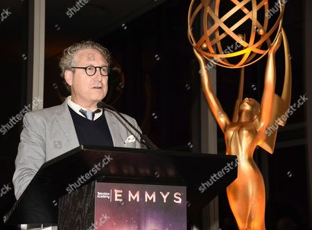 "Stock Image of Bernard Telsey, Emmy nominee for outstanding casting for a limited series, movie or special for ""Fosse/Verdon,"" speaks at the Television Academy's Casting Directors Nominee Reception at 1 Hotel West Hollywood, in West Hollywood, Calif"