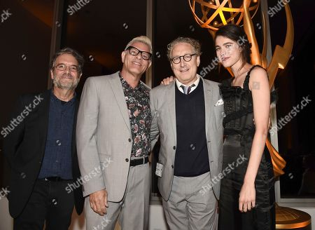 "Bernard Telsey, Peter Golden, Howard Meltzer, Margaret Qualley. Television Academy Governors Peter Golden, left, and Howard Meltzer, second from left, and Margaret Qualley, right, pose with Bernard Telsey, Emmy nominee for outstanding casting for a limited series, movie or special for ""Fosse/Verdon,"" at the Television Academy's Casting Directors Nominee Reception at 1 Hotel West Hollywood, in West Hollywood, Calif"