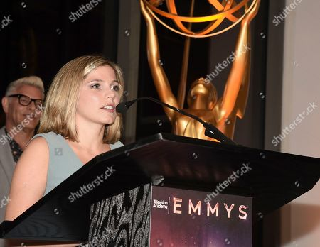 """Ashley Ingram, Emmy nominee for outstanding casting for a limited series, movie or special for """"When They See Us,"""" speaks at the Television Academy's Casting Directors Nominee Reception at 1 Hotel West Hollywood, in West Hollywood, Calif"""