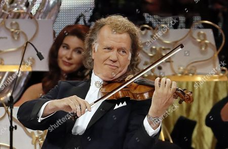 Dutch violinist Andre Rieu performs his first concert in Bogota, Colombia, 12 September 2019. Rieu will perform during concerts in the Colombian capital until 15 September.