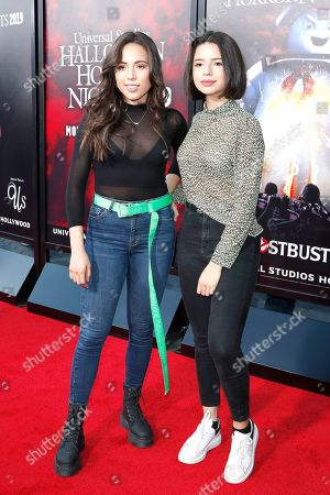 Mexican - US singers Aneliz Aguilar (L) with sister Angela Aguilar at the opening celebration for Halloween Horror Nights at Universal Studios Hollywood in Los Angeles, California, USA 12 September 2019.