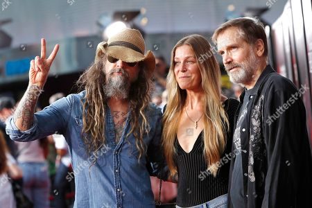 US musician and filmmaker with wife US actress, Rob Zombie, Sheri Moon Zombie and US film actor and musician Bill Moseley at the opening celebration for Halloween Horror Nights at Universal Studios Hollywood in Los Angeles, California, USA 12 September 2019.