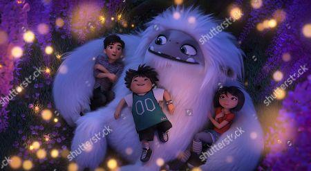 Jin (Tenzing Norgay Trainor), Peng (Albert Tsai) Everest the Yeti (Joseph Izzo) and Yi (Chloe Bennet)