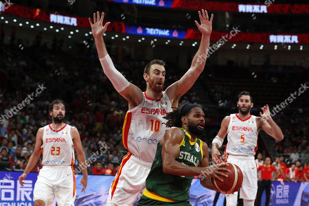 Stock Picture of Victor Claver of Spain (2-L) in action against Patty Mills of Australia (2-R) during the FIBA Basketball World Cup 2019 semi-final match between Spain and Australia in Beijing, China, 13 September 2019.