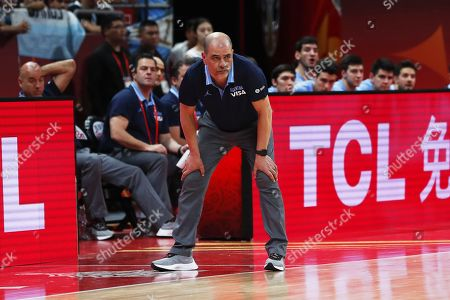 Argentina's head coach Sergio Hernandez reacts during the FIBA Basketball World Cup 2019 semi final match between Argentina and France in Beijing, China, 13 September 2019.