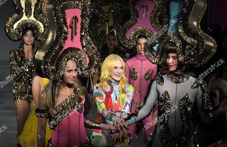 Designer Pam Hogg, Alice Dellal and models on the catwalk