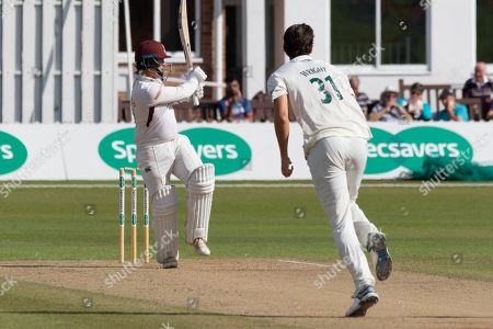 Rob Newton pulls Chris Wright for 4 during the Specsavers County Champ Div 2 match between Leicestershire County Cricket Club and Northamptonshire County Cricket Club at the Fischer County Ground, Grace Road, Leicester