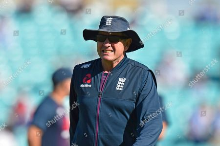 Stock Picture of England head coach Trevor Bayliss during the warm up ahead of the 5th International Test Match 2019 match between England and Australia at the Oval, London