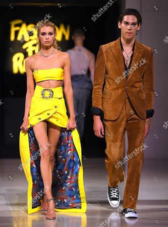 Stock Picture of Stella Maxwell and Paris Brosnan on the catwalk