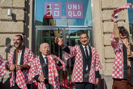 Founder and CEO of Uniqlo Tadashi Yanai and mayor of Milan Giuseppe Sala during the opening ceremony