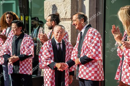 Stock Image of Founder and CEO of Uniqlo Tadashi Yanai (C) and mayor of Milan Giuseppe Sala during the opening ceremony