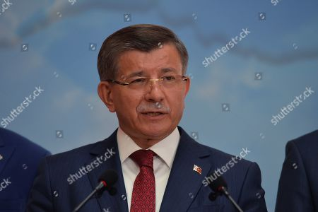 Turkey's former Prime Minister Ahmet Davutoglu speaks during a press conference in Ankara, Turkey 13 September 2019. Davutoglu announced that he is resigning from Turkey's ruling Jsutice and Development Party (AK Party).