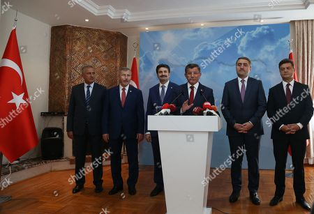 Turkey's former Prime Minister Ahmet Davutoglu (C) speaks during a press conference in Ankara, Turkey 13 September 2019. Davutoglu announced that he is resigning from Turkey's ruling Jsutice and Development Party (AK Party).