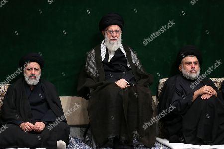 Iran's Supreme Leader Ayatollah Ali Khamenei (L) with Iraqi Shiite cleric, politician, and militia leader Muqtada al-Sadr