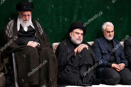 Iran's Supreme Leader Ayatollah Ali Khamenei (L to R) Supreme Leader Ayatollah Ali Khamenei, Iraqi Shiite cleric, politician, and militia leader Muqtada al-Sadr, and Qasem Soleimani, Iranian Revolutionary Guards Corps (IRGC) Lieutenant general and commander of the Quds Force
