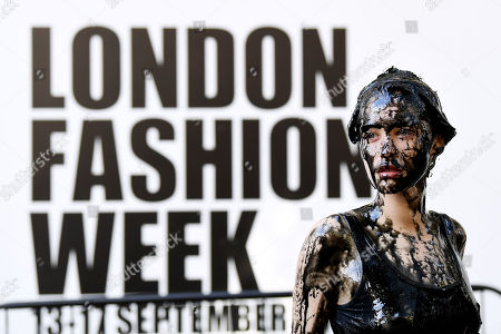 A Peta protest against the use of leather, on the first day of London Fashion Week
