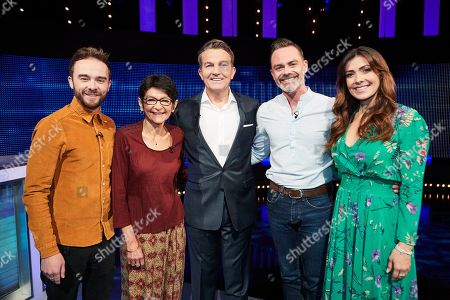 Stock Picture of (L-R)) Jack P Shepherd, Shelley King, host Bradley Walsh, Daniel Brocklebank and Kym Marsh