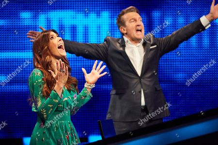 Kym Marsh with host Bradley Walsh facing The Chaser
