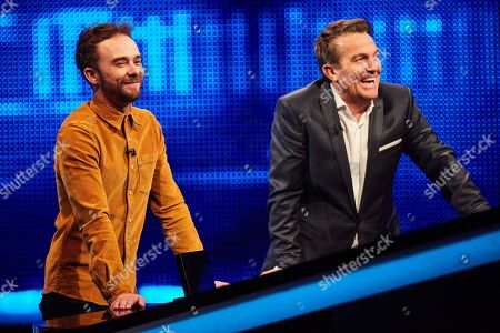 Stock Image of Jack P Shepherd with host Bradley Walsh facing The Chaser