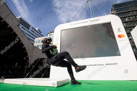 Editorial picture of Mastercard Contactless tackle experience in London, UK - 13 Sep 2019.