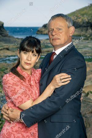 Martin Clunes as Doc Martin and Caroline Catz as Louisa Ellingham.