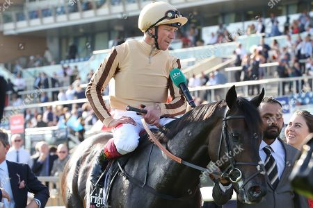 A'ALI (1) ridden by Frankie Dettori and trained by Simon Crisford enter the Winners Enclosure after winning The Group 2 Wainwright Flying Childers Stakes over 5f (£70,000) during the third day of the St Leger Festival at Doncaster Racecourse, Doncaster