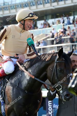 A'ALI (1) ridden by Frankie Dettori and trained by Simon Crisford enter the Winners Enclosure after winning The Group 2 Wainwright Flying Childers Stakes over 5f (£70,000)during the third day of the St Leger Festival at Doncaster Racecourse, Doncaster
