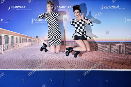 US actresses Dawn Luebbe (L) and Jocelyn DeBoer (R) pose at the photocall for 'Greener Grass' during the 45th Deauville American Film Festival, in Deauville, France, 13 September 2019. The festival runs from 06 to 15 September.