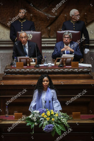 Stock Picture of UN Women Goodwill Ambassador for Africa, Jaha Dukureh, delivers her speech after receiving the 2018 North-South Prize of the Council of Europe, at the Portuguese Parliament in Lisbon, Portugal, 13 September 2019. The annual prize is awarded by the North-South Centre of the Council of Europe to two public figures for their achievements in protection of human rights and defense of an pluralist democracy.