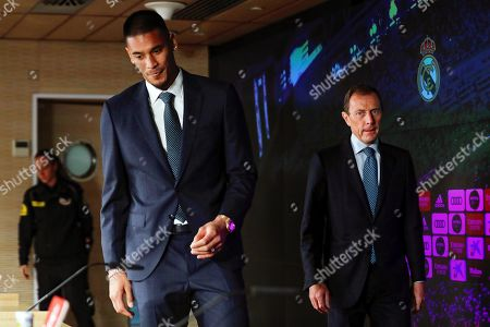 Real Madrid's new French goalkeeper Alphonse Areola (L) arrives with Real Madrid's sports director Emilio Butragueno (R) for a press conference for his presentation as new player of the Spanish La Liga soccer club in Madrid, Spain, 13 September 2019. Areola joined Real Madrid from French Ligue 1 champions Paris Saint-Germain in compensation for the transfer of Costa Rican goalkeeper Keylor Navas.