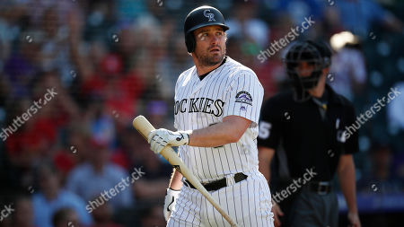 Colorado Rockies first baseman Daniel Murphy (9) in the eighth inning of a baseball game, in Denver