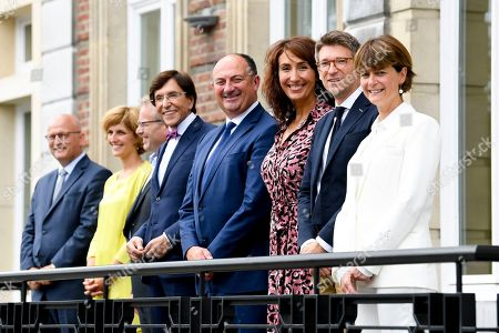 Stock Photo of Jean-Luc Crucke, Celine Tellier, Philippe Henry, Elio Di Rupo, Willy Borsus, Christie Morreale, Pierre-Yves Dermagne, Valerie De Bue