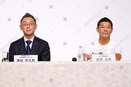 (L-R) Zozo's new president Kotaro Sawada and Zozo founder Yusaku Maezawa attend a press conference