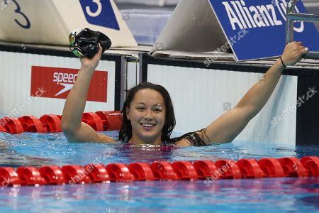 Stock Image of Alice Tai of Great Britain reacts after winning the Women's 50M Freestyle S8 final on day five of the World Para Swimming Championships at the London Aquatics Centre in London, Britain, 13 September 2019. The event is one of the largest Para Swimming championships and will see nearly 600 swimmers compete from 09 September to 15 September 2019.