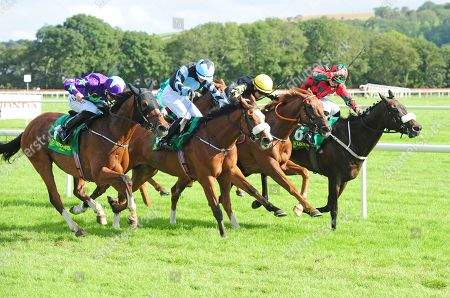 LISTOWEL SEVERUS ALEXANDER and Alan Persse (2nd nearest) wins the John & Terry Moriarty Memorial Handicap from Formula One (near). Healy Racing