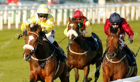 SANDRET (left, Graham Lee) beats STORTING (right) in The Coopers Marquees Classified Stakes Doncaster