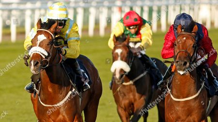 SANDRET (Graham Lee) beats STORTING (right) in The Coopers Marquees Classified Stakes Doncaster