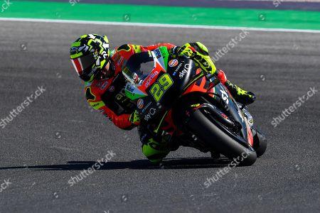 Italian MotoGP rider Andrea Iannone, of the Aprilia Racing Team Gresini during the second practice session for the Motorcycling Grand Prix of San Marino and Riviera di Rimini at the Misano World Circuit Marco Simoncelli, Santa Monica-Cella, Italy, 13 September 2019.