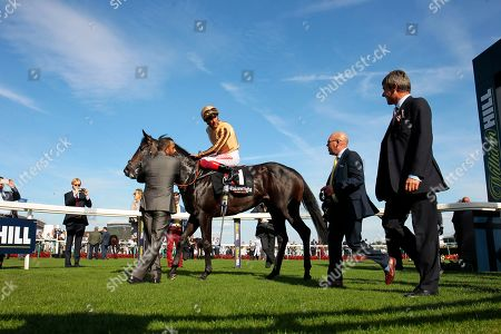A'Ali and Frankie Dettori after victory in the Flying Childers Stakes at Doncaster for trainer Simon Crisford.