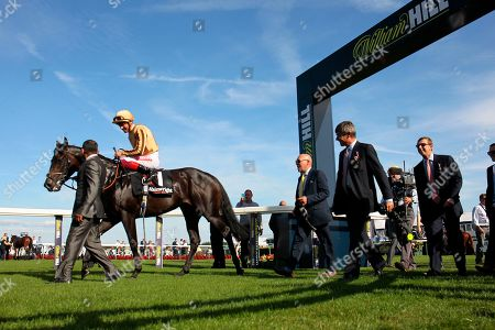 Stock Photo of A'Ali and Frankie Dettori after victory in the Flying Childers Stakes at Doncaster for trainer Simon Crisford.