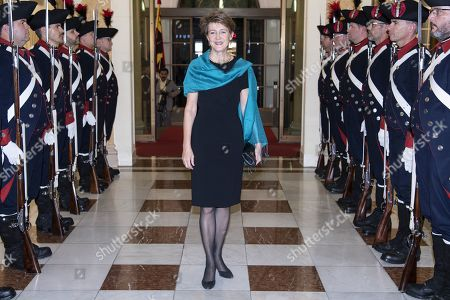 Swiss Federal Councilor Simonetta Sommaruga arrives to the gala dinner in Bern, Switzerland, 13 September 2019. Kovind is on an official visit to Switzerland.