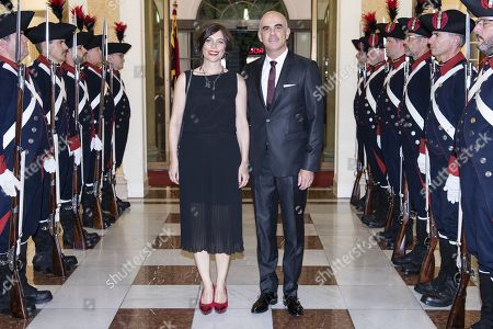 Swiss Federal Councilor Alain Berset (R) and his wife Muriel Zeender Berset (L) arrive to the gala dinner in Bern, Switzerland, 13 September 2019. Kovind is on an official visit to Switzerland.