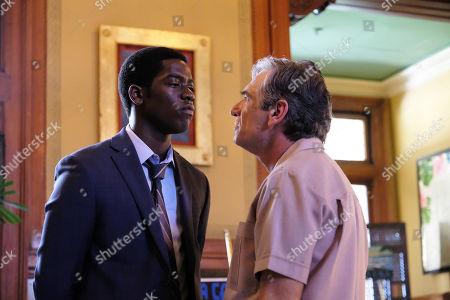 Stock Image of Damson Idris as Franklin Saint and Alon Aboutboul as Avi Drexler