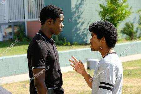 Damson Idris as Franklin Saint and Isaiah John as Leon Simmons