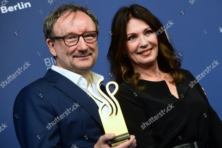 German actor Rainer Bock (L) poses next to laudatory speaker, German actress Iris Berben (R), with his award in the category best male leading role actor during the German Drama Award (Deutscher Schauspielpreis) in Berlin, Germany 13 September 2019.