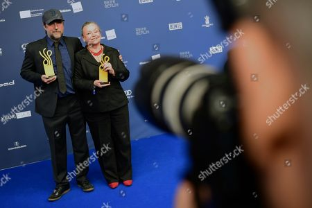 Bjarne Maedel (L) and Ursula Werner pose with their awards in the category Comedy Role during the German Drama Award (Deutscher Schauspielpreis) in Berlin, Germany 13 September 2019.