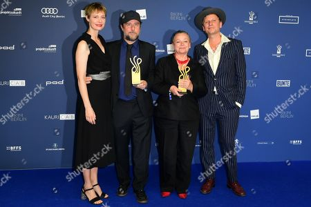 Bjarne Maedel (2-L) and Ursula Werner (3-L) pose with their awards next to laudatory speakers Katharina Schubert (L) and Robert Stadlober (R) in the category Comedy Role during the German Drama Award (Deutscher Schauspielpreis) in Berlin, Germany 13 September 2019.