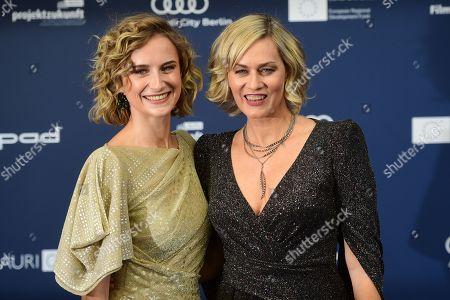 Stock Image of Gesine Cukrowski (R) and Pia Micaela Barucki (L) arrive for the German Drama Award (Deutscher Schauspielpreis) in Berlin, Germany 13 September 2019.
