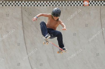 Pedro Carvalho of Brazil competes during the Skate Park World Championship in Sao Paulo, Brazil